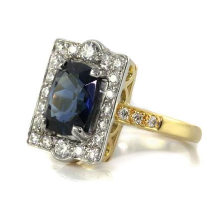 Vintage-style-sapphire-diamond-engagement-ring-bentley-de-lisle