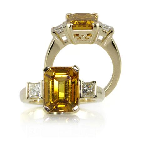 Yellow-sapphire-emerald-cut-diamond-engagement-ring-bentley-de-lisle