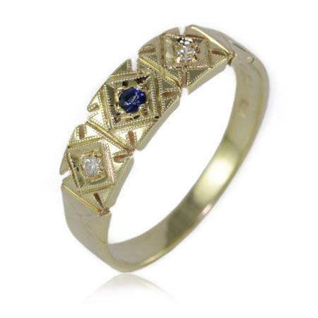Sapphire-Diamond-antique-style-ring-Brisbane-bentley-de-lisle