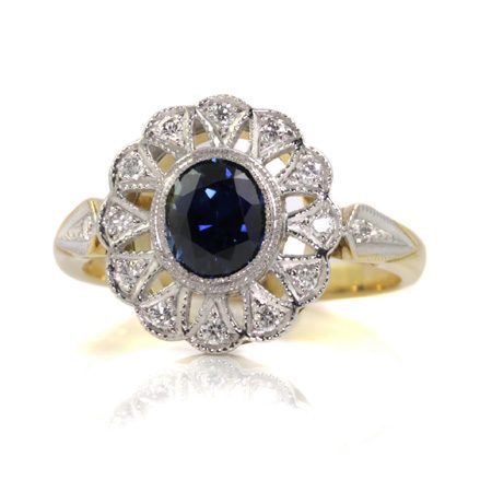 Sapphire-art-deco-flower-cluster-engagement-ring-bentley-de-lisle-jewellers
