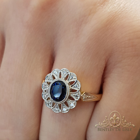 Sapphire-art-deco-flower-cluster-engagement-ring-bentley-de-lisle