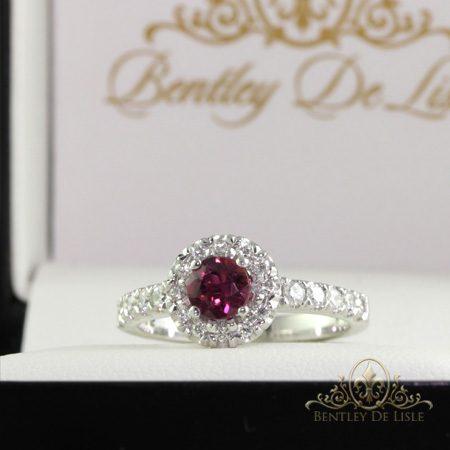 Pink-Tourmaline-Halo-engagement-ring-front-bentley-de-lisle