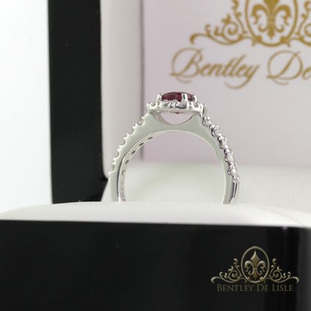 Pink-Tourmaline-Halo-engagement-ring-side-bentley-de-lisle