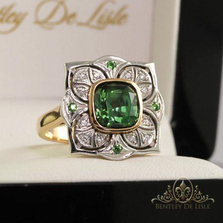 Green-tourmaline-art-deco-flower-ring-Brisbane-bentley-de-lisle
