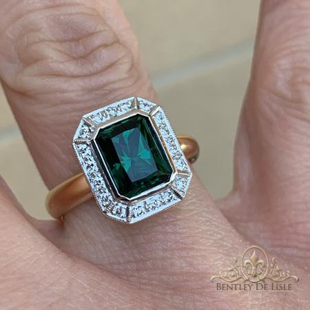 Green-tourmaline-diamond-ring-natural-light-Brisbane-bentley-de-lisle