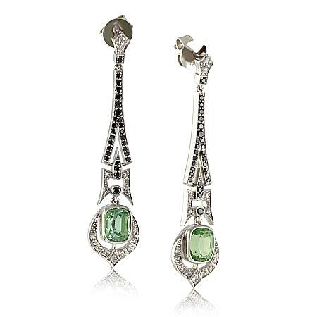 Art-Deco-Mint-Tourmaline-Black-Diamond-Earrings-bentley-de-lisle-Brisbane