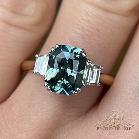 Radiant-Cut-Sapphire-Trapezoid-Diamond-Ring-hand-bentley-de-lisle