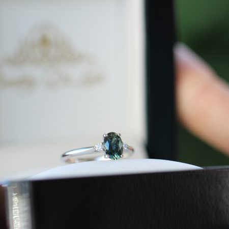 Teal-oval-sapphire-diamond-engagement-ring-brisbane-bentley-de-lisle-jewellers