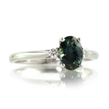 Teal-oval-sapphire-diamond-ring-bentley-de-lisle-jewellers