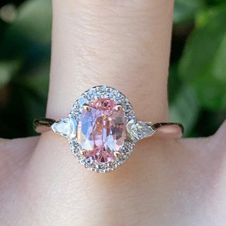 Pink-Padparadscha-Sapphire-ring-Brisbane-hand-bentley-de-lisle