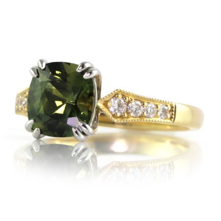 Parti-Green-Sapphire-Cushion-Sapphire-Ring-bentley-de-lisle