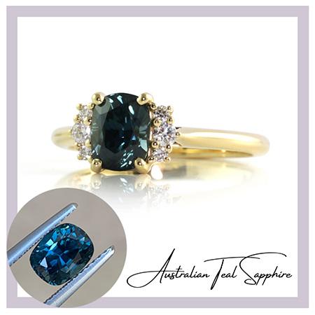 Teal-cushion-sapphire-diamond-engagement--ring-bentley-de-lisle