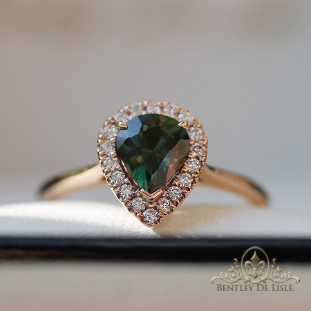 Green-pear-sapphire-diamond-ring-Brisbane-bentley-de-lisle
