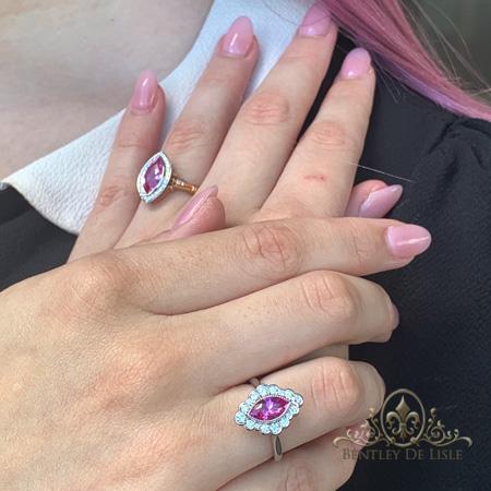 Pink-marquise-sapphire-flower-cluster-ring-hand-Paddington-bentley-de-lisle