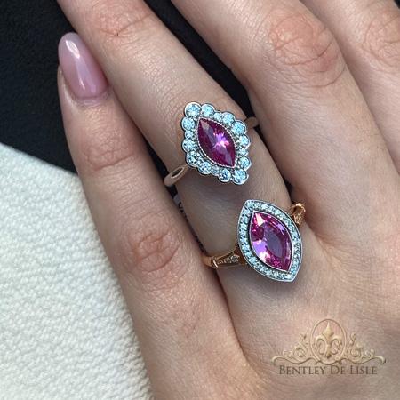 Pink-marquise-sapphire-flower-cluster-rings-Paddington-bentley-de-lisle