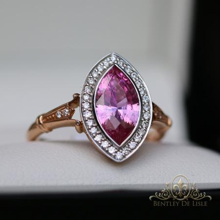 Pink-marquise-sapphire-vintage-style-ring-Paddington-bentley-de-lisle