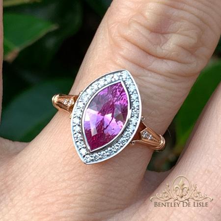 Pink-marquise-sapphire-vintage-style-ring-hand-Brisbane-bentley-de-lisle