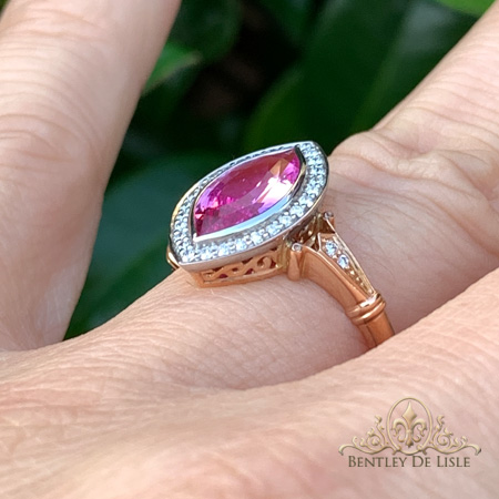 Pink-marquise-sapphire-vintage-style-ring-hand-bentley-de-lisle