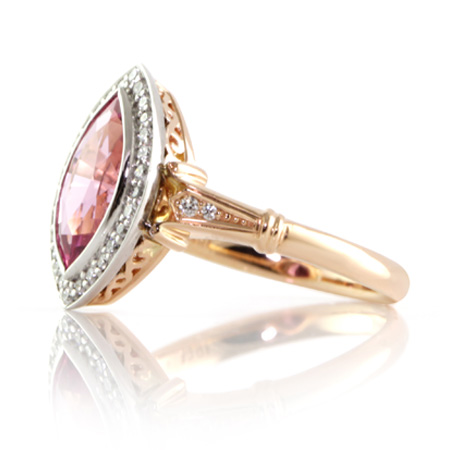 Pink-marquise-sapphire-vintage-style-ring-two-tone-bentley-de-lisle