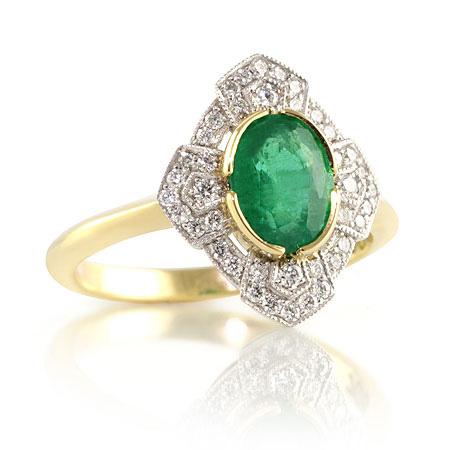 Art-deco-oval-emerald-diamond-ring-two-tone-bentley-de-lisle
