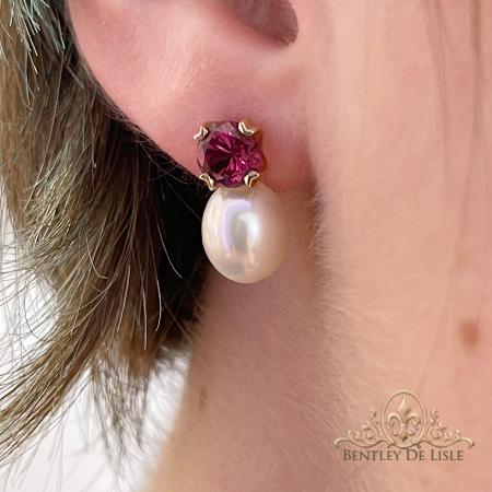 Rhodolite-Garnet-Pearl-Stud-Earrings-Brisbane-bentley-de-lisle-new