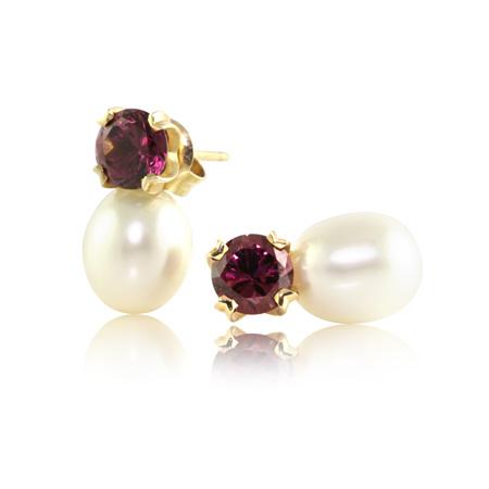 Rhodolite-Garnet-Pearl-Stud-Earrings-bentley-de-lisle