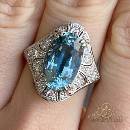 Aquamarine-diamond-art-deco-ring--hand-bentley-de-lisle-paddington