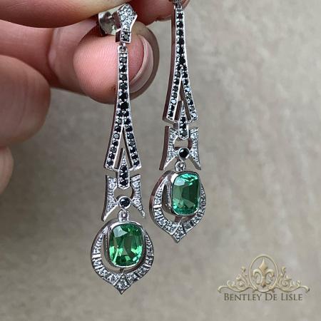 Art-Deco-Mint-Tourmaline-Black-Diamond-Earrings-Paddington-bentley-de-lisle