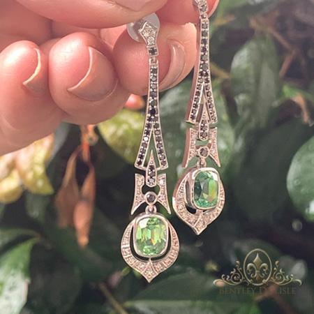 Art-Deco-Mint-Tourmaline-Black-Diamond-Earrings-bentley-de-lisle