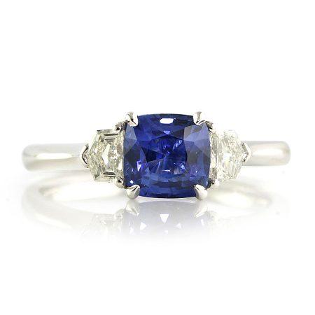 Cornflower-Cushion-Sapphire-Three-Stone-Ring-side-bentley-de-lisle