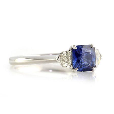 Cornflower-Cushion-Sapphire-Three-Stone-Ring-front-bentley-de-lisle