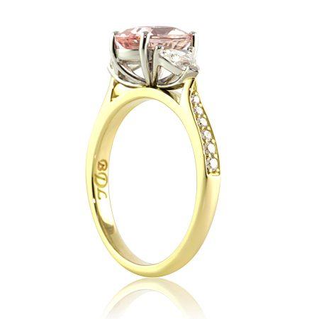 Peach-sapphire-trilliant-diamond-ring-side-bentley-de-lisle